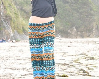 AZTEC TRIBAL STRIPE turquoise blue flare leg bell bottom fashion gypsy hippie retro festival yoga beach lounge pants