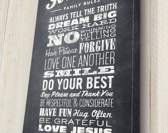 Personalized Family Rules Canvas, Family Mission Statement, Personalized Family Subway Art, Chalkboard Sign, Canvas Gallery Wrap
