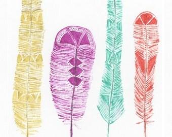 Tribal Feathers 8x10 Print