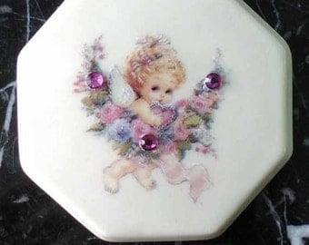 Magnet Porcelain Angelic Girl with flower wreath decal with 3 pink sequins under 15