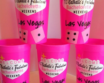 Personalized Cups for Bachelorette Party/ Las Vegas Theme Cups/Vegas Cups