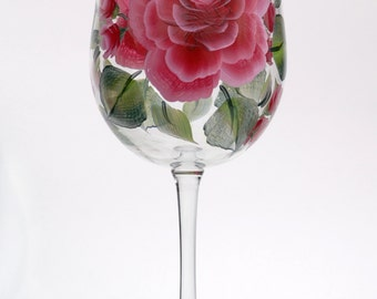 Rose Hand-Painted Wine Glass