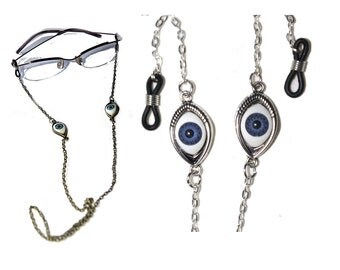 Evil Eye Eyeglasses Chain Holder Necklace,Silver Eyeglass Chain,Punk Sunglasses Chain,Reading Glasses Chain,Eye wear,eye jewelry