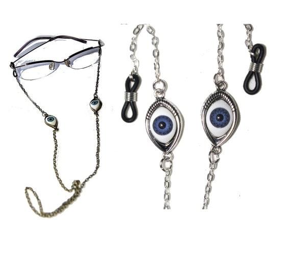 Evil Eye Eyeglasses Chain Holder NecklaceSilver Eyeglass