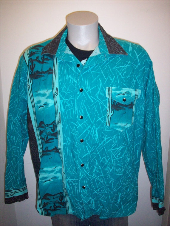 80s koda sunset western shirt mens xxl usa made vtg button up for Mens xxl tall shirts