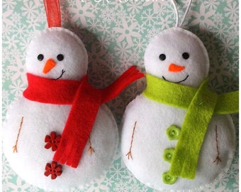 Snowman Ornament PDF Sewing Pattern and Tutorial, Instant Download, Easy Step-by-Step Instructions
