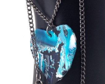 Heart Necklace, heart pendant in polymer clay, one of a kind handmade heart pendant on gun metal chain by Felicianation Creations