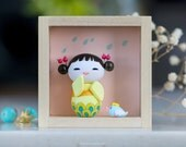 Miniature figurine, OOAK doll, Polymer clay miniature doll, Kokeshi doll, Polymer clay figurine, Art doll