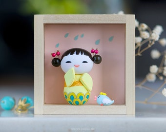 Miniature figurine, OOAK doll, Polymer clay miniature doll, Kokeshi doll, Polymer clay figurine, Art doll
