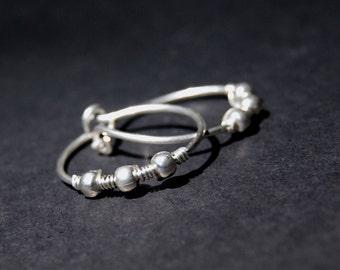 Silver hoop earrings, 3mm sterling silver beads, wire wrapped hoops, handmade wire earrings
