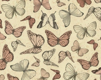 Mirabelle Butterfly Fabric - Santoro for Quilting Treasures 23900 T - Cream, 1/2 yard