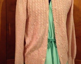 Seventies Pretty Rose Pink and White Cable Stitch Pearl Buttoned Sweater