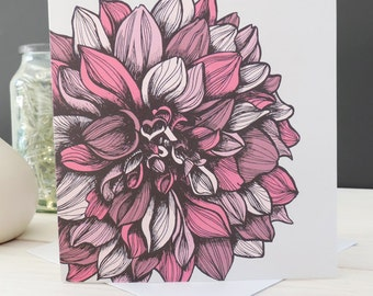 Darcey Floral Card, Greetings Card, Blank Card, Stationery, Paper Goods