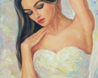 """Pearl Beauty - Original Oil Painting on Stretched Canvas, 14""""x11""""x1"""""""