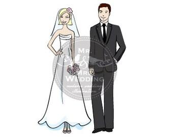 Custom Wedding Illustration - Couple 1