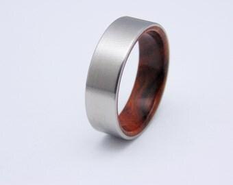 Titanium and wood ring Arizona Ironwood handmade wedding band