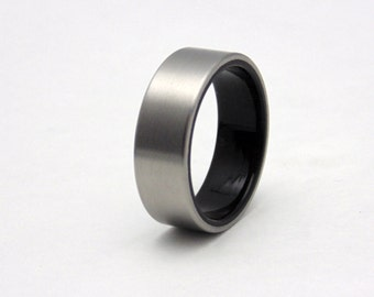 Mens Titanium and Ebony wood wedding band