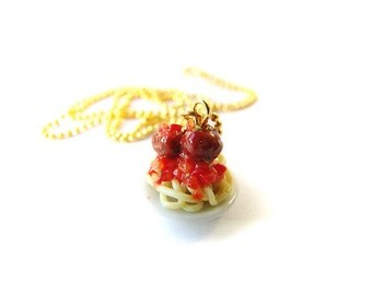 Spaghetti and Meatballs Necklace, Polymer Clay Spaghetti, Miniature Food Jewelry, Polymer Clay Food Necklace, Italien Food Necklace