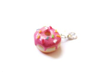 Strawberry Pink Sprinkle Donut Charm - Miniature Food Jewelry - Sprinkle Frosted  Doughnut Charm