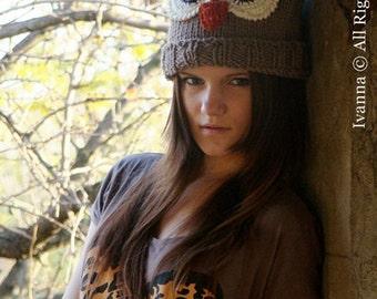 Knit Hat Womens Hat - Owl Beanie Hat in Denim Blue Knit Hat - Blue Hat Blue Beanie Womens Accessories Winter Hat Christmas gift