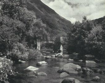 Fingle Bridge Devonshire Print Black and white from photograph Vintage ephemera Park England