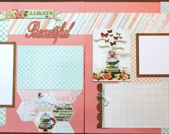 12x12 Premade Scrapbook Pages or Kit- Always Beautiful - Last One Available