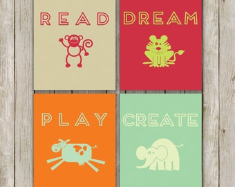 8x10 Playroom Printable Set, Read, Dream, Play, Create Prints, Playroom Poster Art, Typography Prints, Set of Four, Instant Digital Download