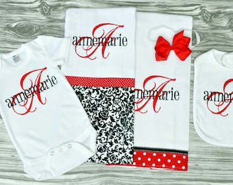 red gray black monogrammed baby onepiece 2 burps bib and bow personalized coming home outfit baby girl baby shower gift embroidered baby