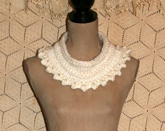 Chunky White Cowl Scarf Hand Knit Cowl Winter Accessories Romantic Victorian Clothing Handmade Scarves Picot Edge Gift Idea Free Shipping
