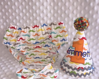 Boys Cake Smash Outfit - Mustaches - Diaper Cover, Bow Tie & Birthday Hat - Birthday Set