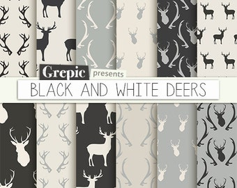 "Deer digital paper: ""BLACK & WHITE DEERS"" with woodland deers patterns, antlers, forest, reindeer, holidays, christmas, black white antler"