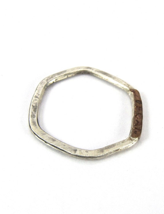 silver vegan jewelry two tone band modern rustic silver