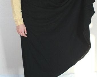 Black Wool A-Line Full Liz Claiborne Skirt - Size 8 Medium with Pockets 100% Pure Wool