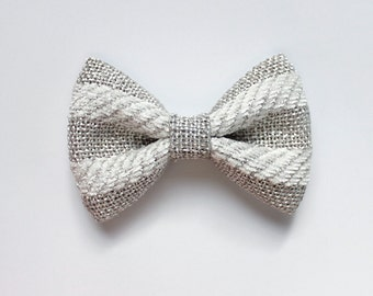 """3.25"""" Silver and white striped burlap fabric hair bow clip, silver hair bow, gray hair bow, small hair bow, bow clip, hairbow for teens"""