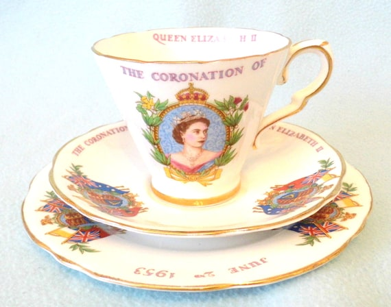 Vintage Three Piece Tea Cup, Saucer and Plate Set, 1953 Queen Elizabeth II Coronation Souvenir, Lovely Items, Afternoon Tea, Quality Set