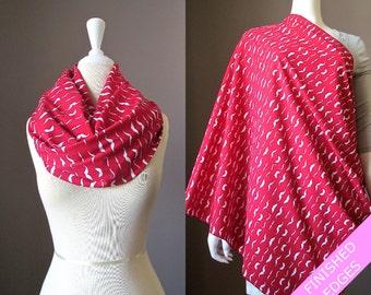 Nursing cover scarf, nursing cover, nursing scarf, red scarf, breastfeeding cover, nursing infinity scarf, nursing cover up