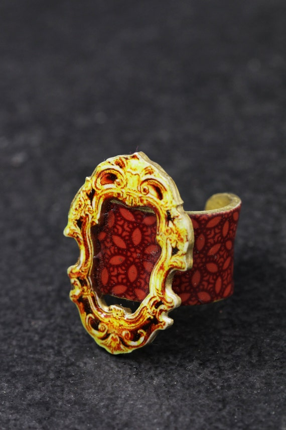 red chunky festive ring, contemporary Victorian jewelery, unusual design ring with red pattern for women