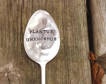 Plantus Unknownus Garden Vintage Spoon Herb Garden Plant Marker - Antique Silver Plated - Hand Stamped - Rustic Decor