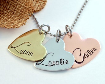 Mommy Necklace, Personalized Heart Necklace, Mothers Necklace, Handstamped Mixed Metals