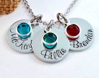 Personalized Necklace, Mothers Name Necklace with Birthstones, Personalized Mommy Necklace, Name Necklace, Handstamped Aluminum