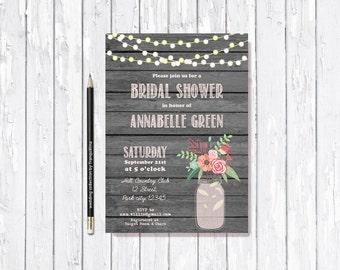 Rustic Bridal Shower Invitation Printable, Mason Jar Bridal Shower Invitation, Country Bridal Shower Invite, Pink Gray Bridal Shower Invite