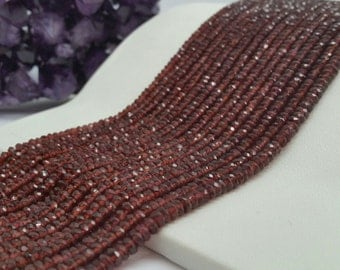 "Garnet Faceted Rondelles AA Quality 3-4mm, 13.5-14""L"