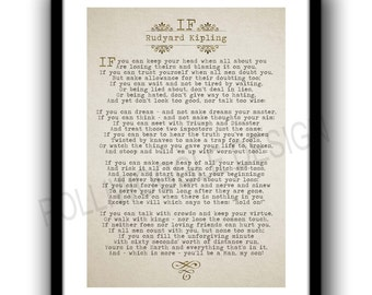If Poem By Rudyard Kipling. minimalist, wall decor, typography, Modern, Classic