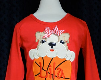 Personalized Team Name & Baby Bulldog with Basketball Applique Shirt or Onesie