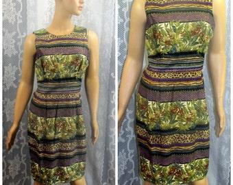 Vintage Dress, Floral Dress, Cute Dress, Party Dress, Plants, Open Back, Size 10, Petite Dress, Medium Dress, Unique Dress, 80s, Epsteam