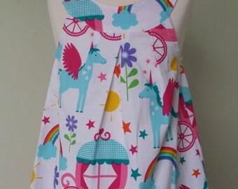 Girls pinafore, unicorn dress, unicorn party, READY to post, age 1, rainbows & unicorns, kids clothing, uk