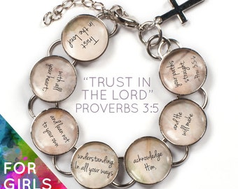 Trust In The Lord - Proverbs 3 Girls Scripture Bible Verse Glass Charm Bracelet, 6-7""