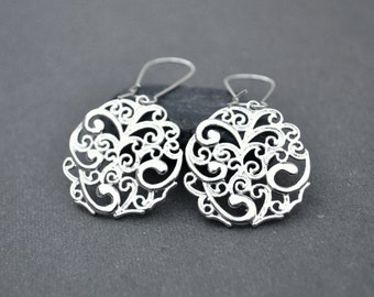 Silver dangle earrings Filigree Silver Hoop Earring Floral Silver drop Earrings Gift for her mother's day gift under 20 valentines day gift