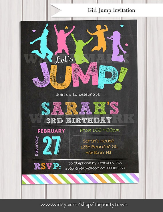 jump invitation girl bounce house invitation trampoline party invitation trampoline birthday. Black Bedroom Furniture Sets. Home Design Ideas