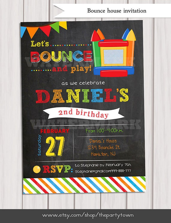 bounce house birthday invitation  boy bounce house